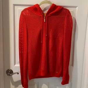 St. John red knit cardigan sweater with zipper